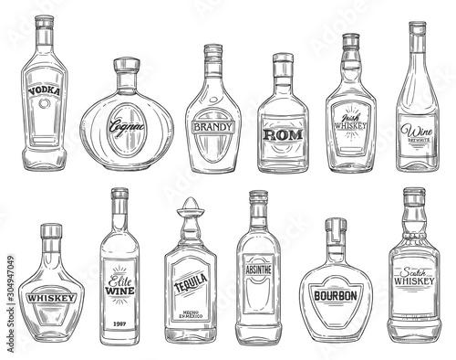 Fototapeta Alcohol drink bottles sketch icons, bar menu drinks and beverages