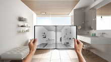 Hands Holding Notepad With Creative Bathroom Design Blueprint Sketch Or Drawing. Real Interior Design Project Background. Before And After Concept, Architect Designer Work Flow Idea