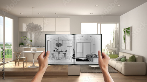 Obraz Hands holding notepad with creative kitchen design blueprint sketch or drawing. Real interior design project background. Before and after concept, architect designer work flow idea - fototapety do salonu