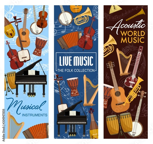 Fotografiet Music instruments, live folk band festival, jazz and orchestra concert banners
