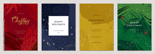 Merry Christmas and Bright Corporate Holiday cards. Vector illustration.