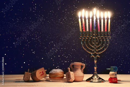 religion image of jewish holiday Hanukkah background with menorah (traditional c Canvas Print