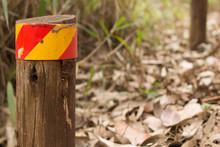 Wooden Roadside Marker In Forest