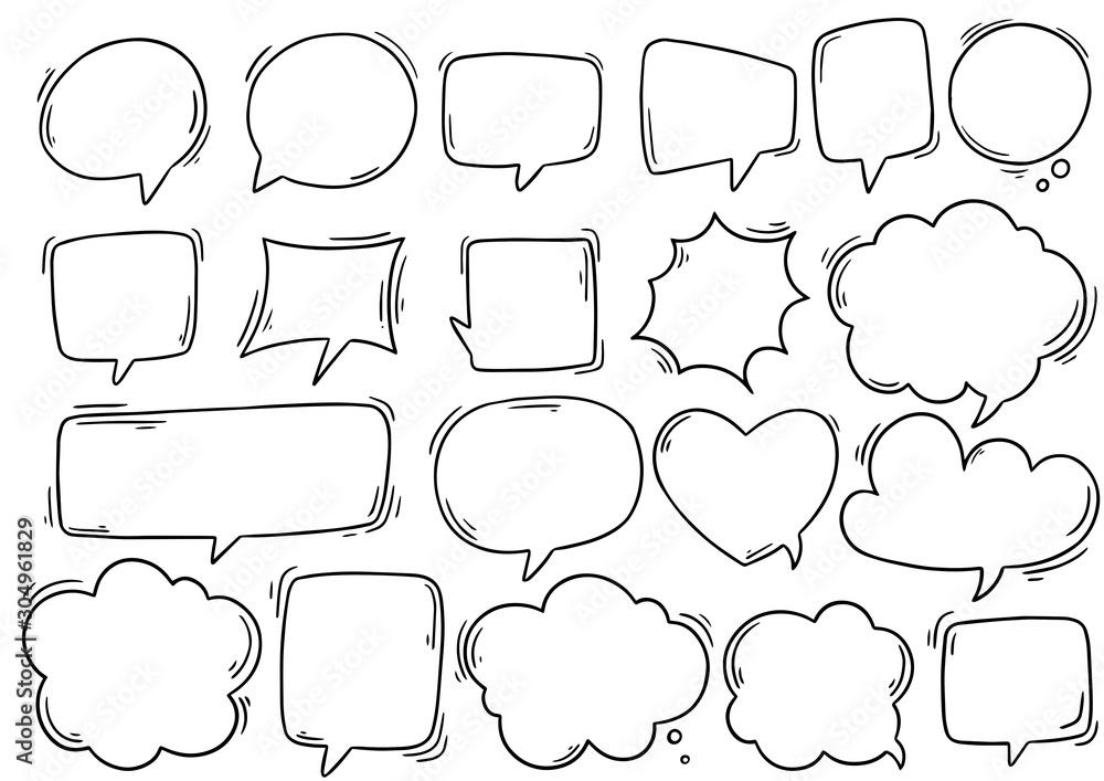 Fototapeta hand drawn background Set of cute speech bubble in doodle style