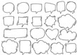 canvas print picture - hand drawn background Set of cute speech bubble in doodle style