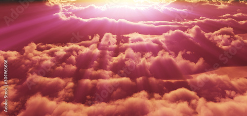 Foto auf AluDibond Ziegel above clouds sunset god ray