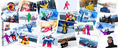 Fotografia, Obraz Big photo collage of winter sports ski and snowboarding