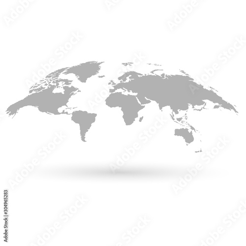 World map 3d. Map of the earth. Earth map on a white background Canvas Print
