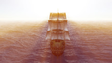 Old Ship In Sea, 3d Render