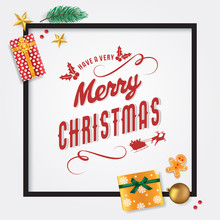 Merry Christmas And New Year Card Template With Pine Leaves, Star, Gingerbread Man, Presents, Bauble And Christmas Cherries, Vector