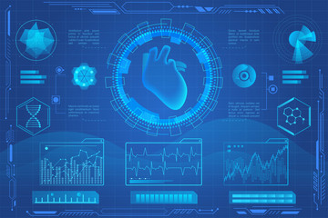 Human heart futuristic medical hologram vector illustration. Heart model screening virtial reality interface. Diagrams, pie chart infographics. vr and ar medicine and healthcare icons