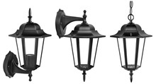 Set Of Isolated Classic Street Lamp. Ceiling And Wall Munted Lantern