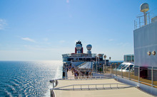 Luxury Ocean Liner Cruise Ship Cunard Queen Elizabeth Queen Victoria At Sea On A Summer Day