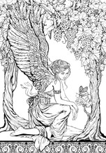 Coloring Page Of Portrait Of A Girl Angel Decorated Floral Elements