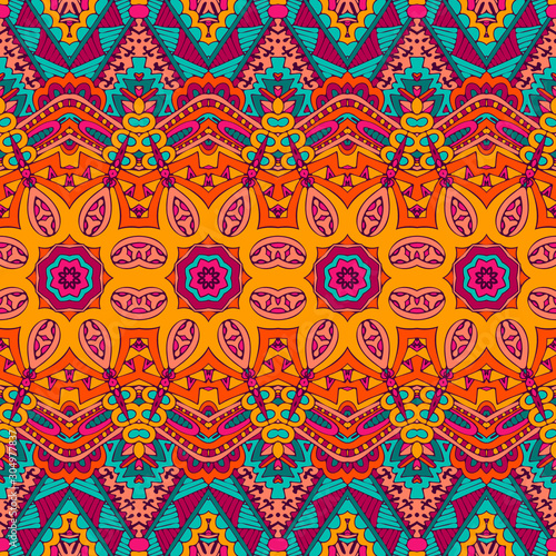 Obraz na płótnie Abstract festive colorful floral vector ethnic tribal pattern
