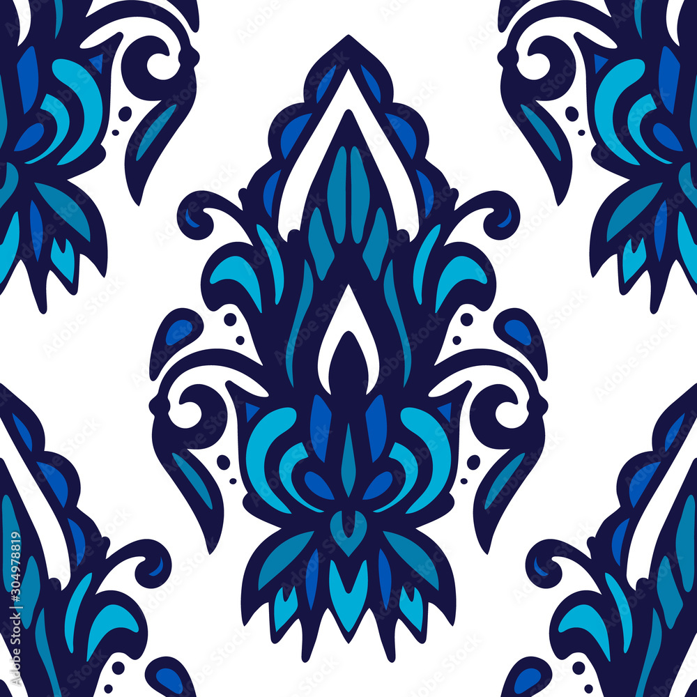 Damask flower vector seamless pattern blue and white tile .