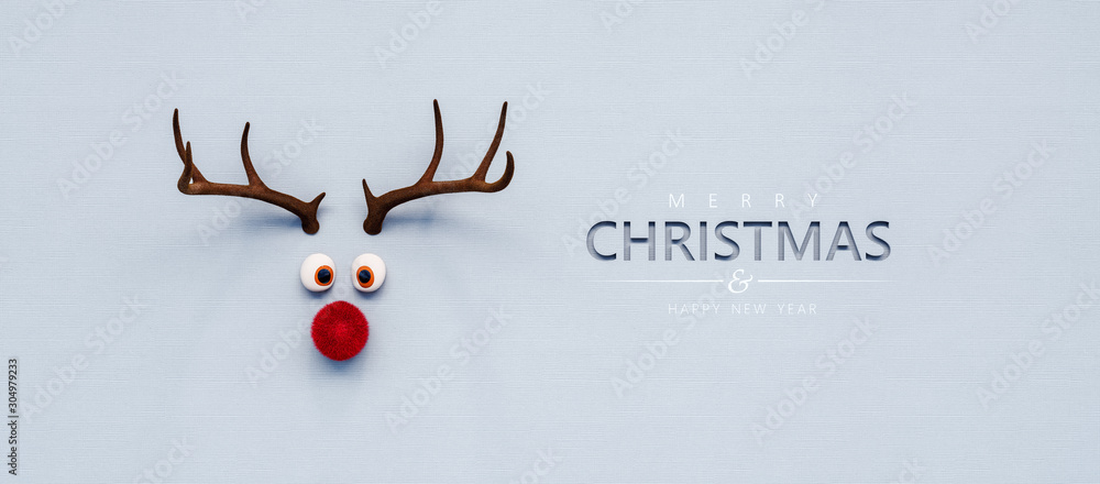 Fototapeta Reindeer toy with red nose Christmas background concept 3D Rendering