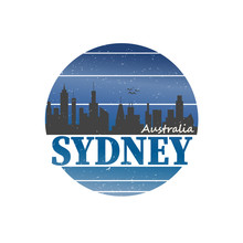 Sydney City Travel Destination. Vector Shirt Logo On A White Background