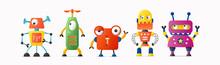 Set Of Cute Vector Robot Chara...