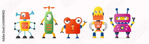 Set of cute vector robot characters for kids. Funny retro style robotics