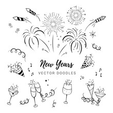 Fun Hand Drawn New Years Party...