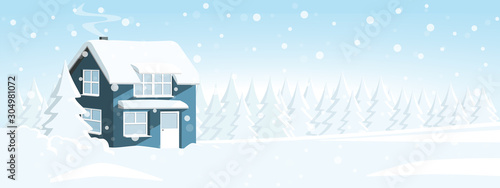 House in a snowy forest. Winter wonderland. Vector banner template