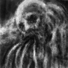 Scary Zombie Scull Face With Tentacles From Its Mouth. Black And White Illustration In Horror Genre With Coal And Noise Effect.