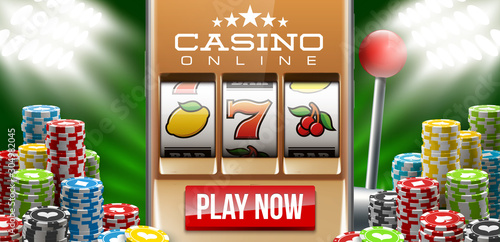 Tela  Illustration banner of mobile online casino application with 777 big win slot machine