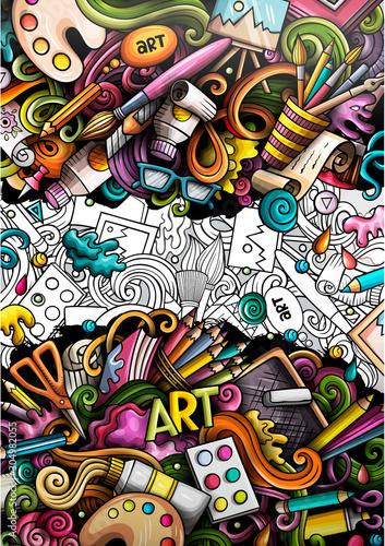 Artist hand drawn doodle banner. Cartoon detailed illustrations. Canvas Print