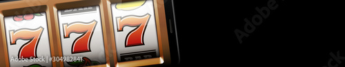 Fotografia banner 3d realistic online casino Slot machine with 777 isolated on black background and empty place for text