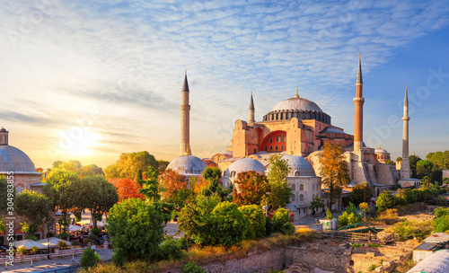 Hagia Sophia, the former cathedral and an Ottoman Mosque, a famous place of visi Wallpaper Mural