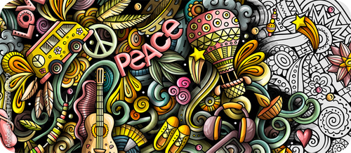 Hippie hand drawn doodle banner. Cartoon detailed illustrations. Canvas Print