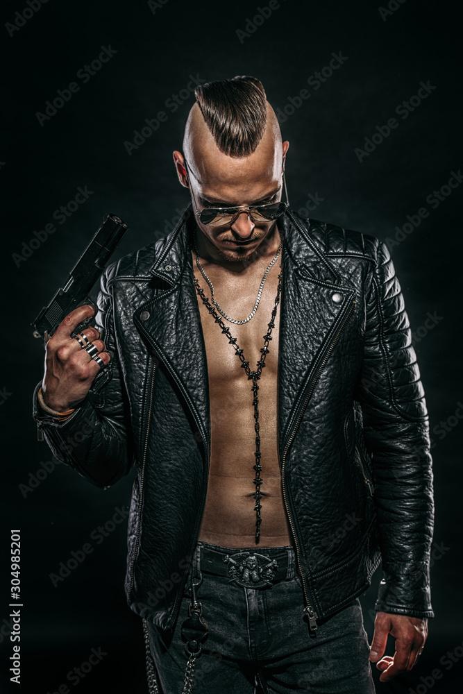 Fototapeta gangster man with gun