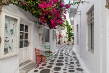 Traditional Small Alleys At Parikia The Port Of Paros Island, In Cyclades, Greece