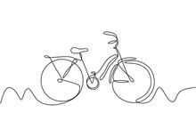Abstract One Line Drawing With Bike Vector. Illustration Cycling Object Isolated On White Background.