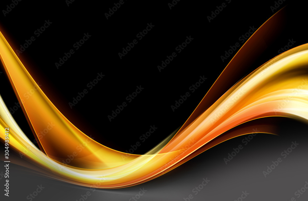 Orange and gold flowing wave on black background. Glowing motion lines backdrop.