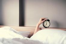 Woman Sleep On The Bed Turns O...