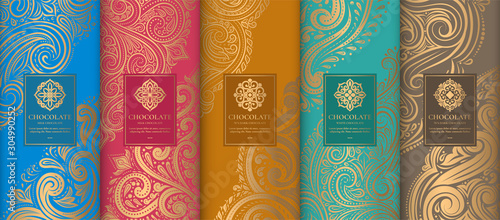 Luxury packaging design of chocolate bars Canvas Print