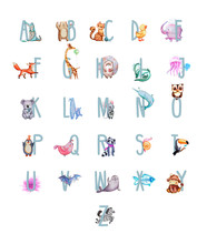 ANIMAL ALPHABET LETTER - A-Z . Funny Kids English Alphabet With Animals Watercolor Illustration