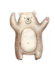Cute Watercolor Bear, Isolated...