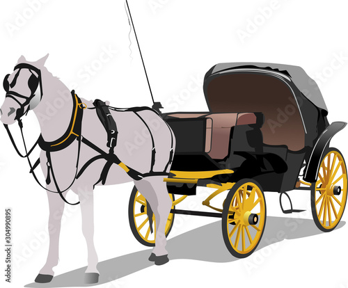 Photo Vintage carriage and horse. Vector illustration