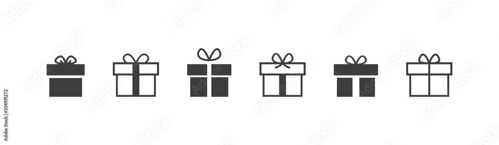 Fototapeta Gift box icon in line style. vector illustration