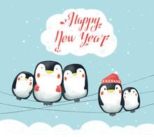 Hand Drawn Funny Group Of Cartoon Penguins With Happy New Year Text Lettering. Funny, Frozen. Perfect For Greeting Card, Wallpaper Or Print Design.