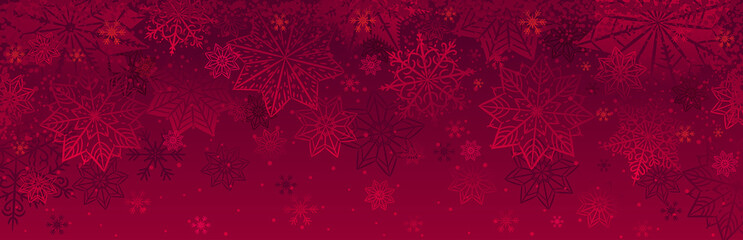 Obraz na płótnie Canvas Red christmas banner with snowflakes. Merry Christmas and Happy New Year greeting banner. Horizontal new year background, headers, posters, cards, website.Vector illustration
