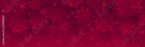 Fotografiet  Red christmas banner with snowflakes