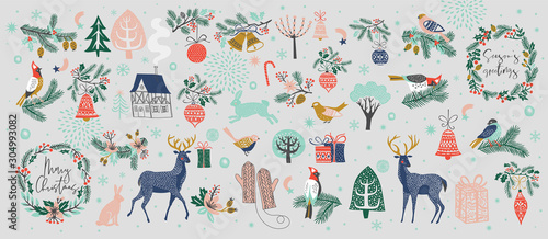 Christmas collection of decorative winter elements - 304993082