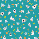 Seamless pattern of cute puppies or dogs on vacation enjoying summertime at beach with wavy lines. Surface design for textile, fabric, wallpaper, wrapping, gift-wrap, paper, scrapbook and packaging.