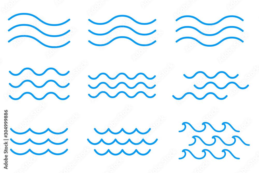 Fototapeta 線による波のアイコンセット