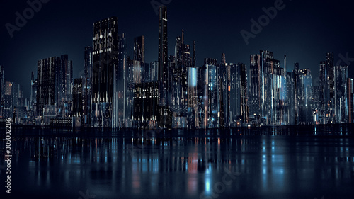3D Rendering of modern skyscraper buildings in large city at night with reflection on wet  puddle street after raining Wallpaper Mural