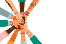 Hands Together - Set Of Different Races Raised Up Hands. The Concept Of Education, Business Training, Volunteering Charity, Party.